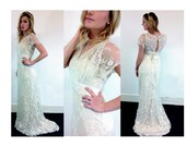 Made-to-order Boho mixed Lace wedding dress low back