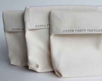 Reusable Sandwich Bag in Organic Cotton Canvas - handmade set of 3 - snack bag