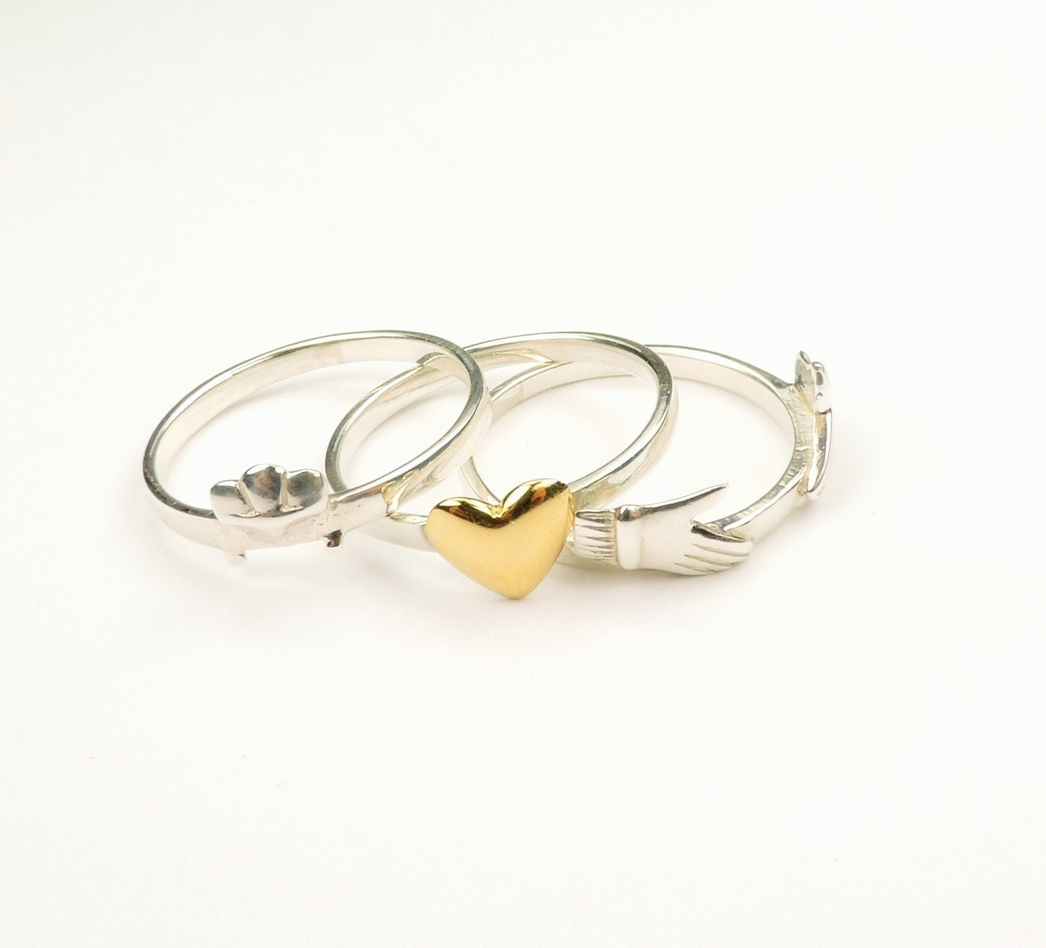 stacking celtic claddagh ring in sterling silver and gold
