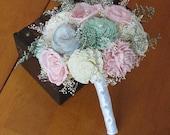 Handmade Wedding Bouquet, Sola wood Bouquet, Pink Mint Bouquet, Alternative Bouquet, Mint Bouquet, Sola flowers, Wood Bouquet