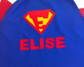 Personalised  Superman cape with name for children. Costume, fancy dress, Halloween, superhero. Great birthday present for girls or boys.