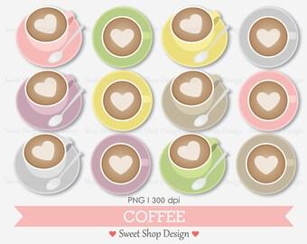 Coffee Clip Art, Coffee Cup Clipart, Coffee Art, Digital Clip Art, NO2, Instant Download