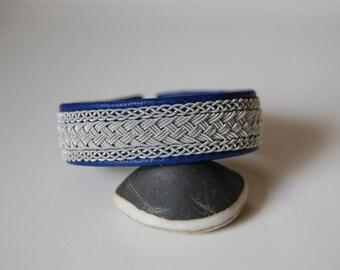 Lapland Sami Bracelet, Reindeer leather  Antler Button - Sweden