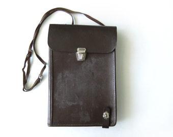 Vintage Men's Leather Crossbody Messenger Bag, Military Map Bag, Mens Brown Bag