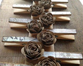 Shabby Chic Rustic Style Decoupage Clothespins With Roses Set of 10