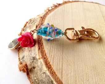 Keychain gold. Keychain blue. Rose keychain. Keychain angel. Bridesmaid gift. Wedding gift. Linnepin010