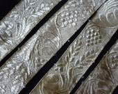 Antique French woven silver metallic ribbon grapevine design braid vestment salvage project 84 ins