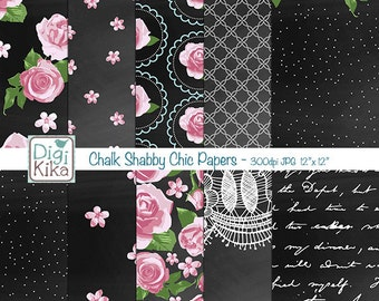 Chalkboard Shabby Chic Digital Papers, Chalk Shabby Chic Scrapbook Paper - Chalk Wedding Papers - Floral Chalk Background - INSTANT DOWNLOAD