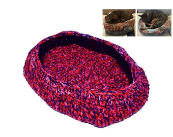 Cat Bed, Crocheted Cat Bed, Oval Cat Bed, Red Pink Navy