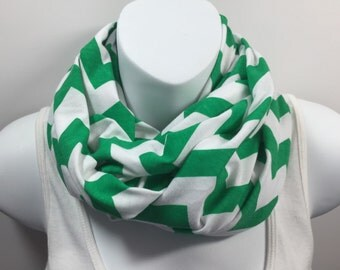 Kelly Green and white chevron infinity scarf
