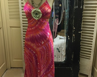 Upcycled Bohemian Gypsy Maxi Dress Hippie Boho Long Dress Summer Halter Top Hobo Dress