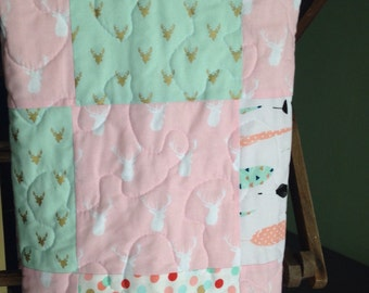 Woodland Tribal Baby Girl Quilt Pink Coral Mint Metallic Gold Antlers Rustic