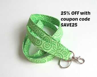 Id Badge Lanyard Spring Green Fabric Key Holder Keychain Fabric Lanyard