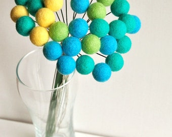 Yellow blue billy balls, felt ball flowers, felt flower bouquet, teal billy balls, office bouquet, wool craspedia, felt flower, billy button