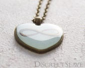 SALE. Infinite love. Polyamory heart. Pastel Mint enamel and brass bezel. No chain. Available for limited time.