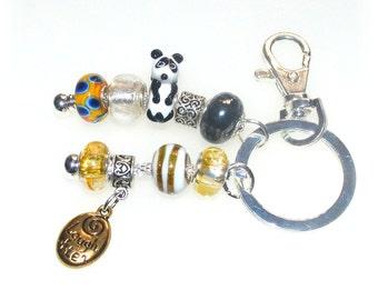 Panda Beaded Key Ring