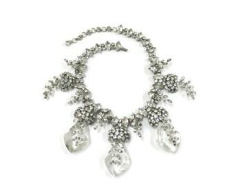 Vintage Schreiner Layered Rhinestone with Crystal Drops Necklace