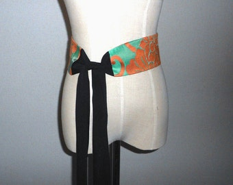 SUMMER SALE 30%off!! Kimono sash, Antique brocade&Chirimen silk, Handmade obi sash, Dress belt