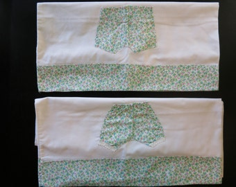 Whimsical vintage pillowcase pair,c. 1960-1980, calico bloomers and boxers