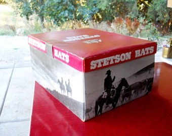 Equestrian Cowboy Stetson Red Hat Box Vintage 1960s Rustic Rancher Farmhouse Country Western Cabin Cattle Horse Ranch Folk Art Porch Decor