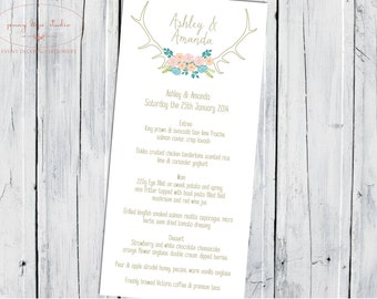 Printable Menu The Antler Affair with Florals on Chalkboard Background, Wedding, Engagement, Birthday, Kitchen tea, baby shower, bridal show