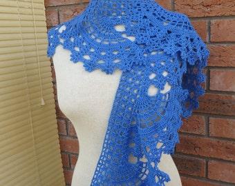 Crochet Lace Women Scarf, Crochet Neckwarmer, Lace Scarf, Women Blue Scarf