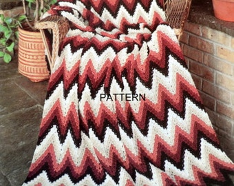 Shell Ripple Crochet Afghan Pattern, Adult Throw Blanket, Lap Blanket Pattern