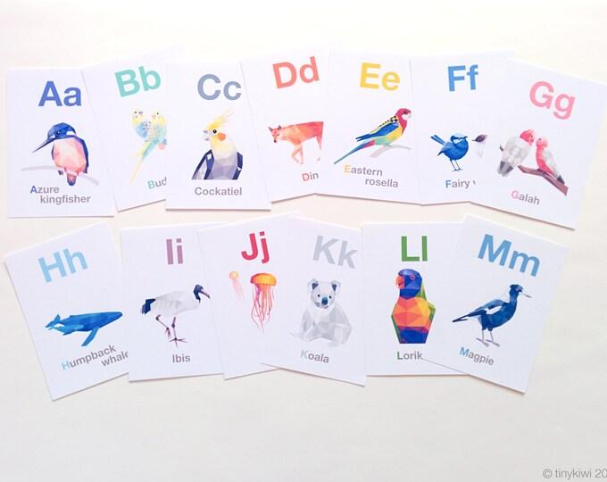 Australian alphabet cards, ABC flashcards, Australian animals, Koala, Alphabet art, Animal alphabet, Geometric abc, Baby shower gift idea
