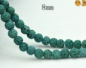 15 inch strand of Lava round beads,green color 8mm