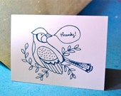 letterpress printed thank you cards-- birds