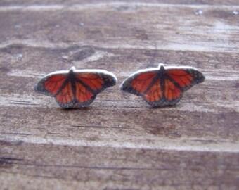 Monarch butterfly earrings butterfly jewelry insect bug wearable art post earrings