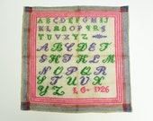 Vintage French alphabet sampler, Abecedaire 1926, Name and Date, Antique decor, Embroidery