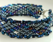 Metallic Purple Teal Silver Scales Lace Beaded Bracelet - Inspired by The Shannara Chronicles