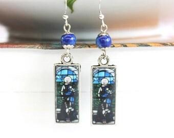 Art resin earrings with church window art prints