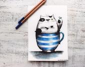 Original cat watercolor painting 5x8' watercolor nursery art cat in a cup cupcake