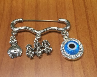 Evil Eye charm Say no Evil Hear no Evil See no Evil Lucky Money charm Decorated pin/ brooch