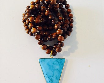 Wood and Turquoise Triangle Necklace