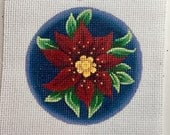 "Hand Painted Needlepoint Canvas Red Poinsettia 4"" Ornament  13 count"