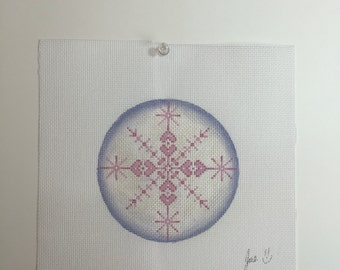 """Hand Painted Needlepoint Canvas Pink Snowflake 4"""" Ornament"""