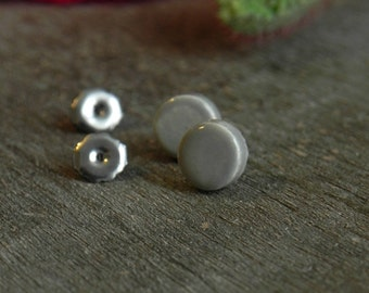 Little Grey Unisex Modern Ceramic Earrings Small Gray Stud Mini Pottery Surgical Steel Post