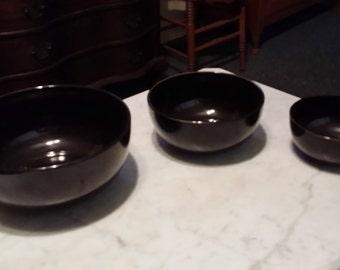 RARE Arabia of Finland Black Glaze Mixing Bowls - Set of Three
