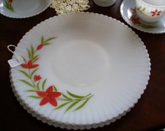 Vintage MacBeth-Evans Monax Milk Glass Cake Plate with Hand Painted Flowers - Florette pattern