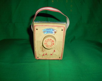 One (1) Vintage Fisher-Price, Music Box, Pocket Radio Toy, # 775