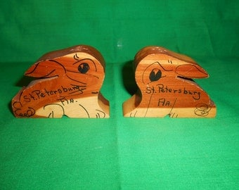 One (1), Pair of Souvenir Wooden Salt & Pepper Shakers, St. Petersburg. Fla.