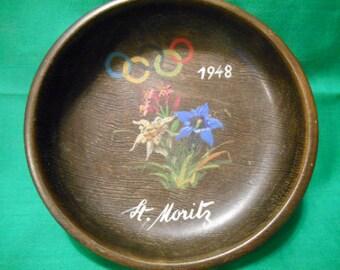 One (1), 1948 Olympic Winter Games, Souvenir Bowl. St Moritz, Switzerland.