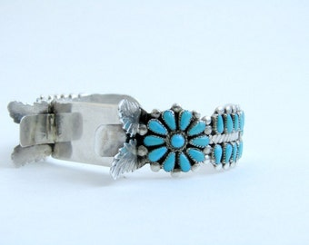 Petit Point Turquoise and Silver Watchband Bracelet