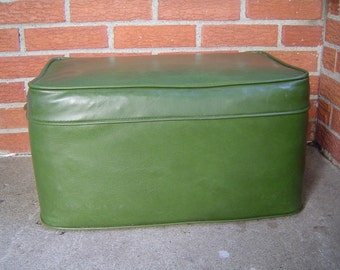Vintage Green Square Hassock Footstool, Retro Mid Century Modern Ottoman