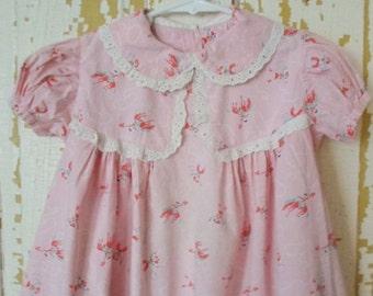 ON SALE Vintage Little Girls Dress, Western Print, Cowboy Print, Pink, Red, Green, Baby Girl, Toddler, Summer, Cotton, Machine Wash, Eyelet