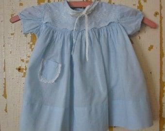 ON SALE Vintage Annette Light Baby Blue Cotton White Lace Baby Dress, 12 Months, Short Sleeve, Lighweight, Cool, Spring, Summer