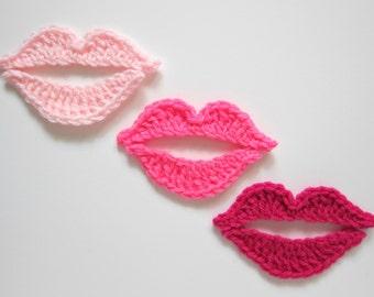 """1pc 4.5"""" Crochet PINK KISS Applique"""